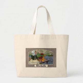 アールヌーボー女の子、手押し車、及び桟橋 ラージトートバッグ
