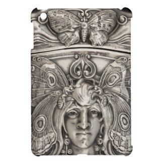 アールヌーボー蝶女性ヴィンテージの銀の宝石類 iPad MINIケース