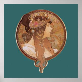 アールヌーボー-ビザンチンの頭部、ブルネットのポスター ポスター
