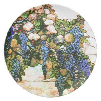 アールヌーボーTiffanyのステンドグラスの自然 プレート