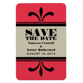 アール・デコのファンシーな保存日付の磁石赤かベージュ色 マグネット