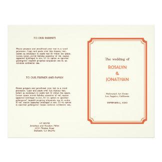 アール・デコのレトロのオレンジ茶色の結婚式プログラム チラシ
