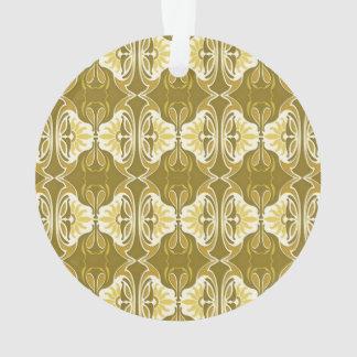 アール・デコの壁紙パターン-金ゴールドおよび白 オーナメント