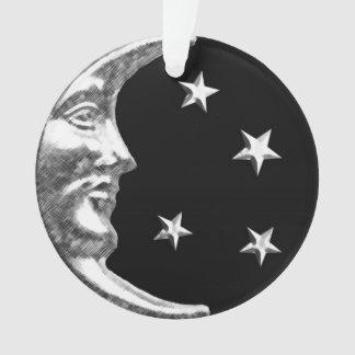 アール・デコの月および星-黒および銀 オーナメント