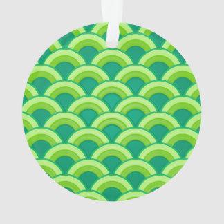 アール・デコの波パターン-ヒスイ緑 オーナメント