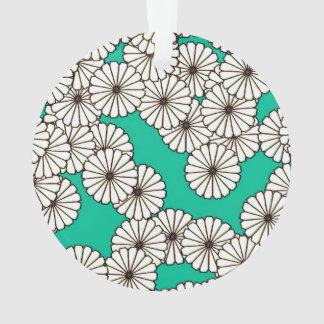 アール・デコの花模様-ターコイズの白 オーナメント