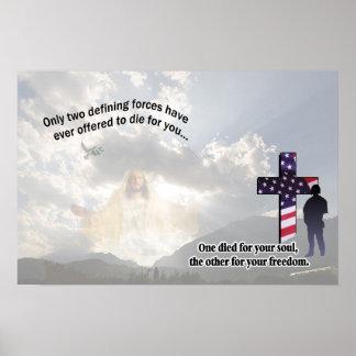 イエス・キリストおよびアメリカの兵士ポスター ポスター