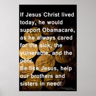 イエス・キリストおよびオバマケア ポスター
