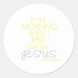 イエス・キリストおよびコーヒーステッカー ラウンドシール