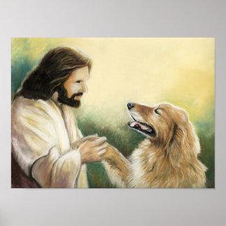イエス・キリストおよびゴールデン・リトリーバー犬の芸術のプリント ポスター
