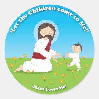 イエス・キリストおよび子供 ラウンドシール