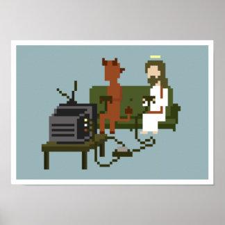イエス・キリストおよび悪魔はビデオゲームピクセル芸術ポスターを遊びます ポスター