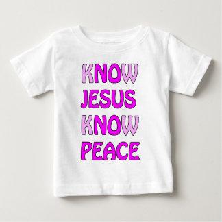 イエス・キリストが平和をイエス・キリストピンクの平和知っていないことを知って下さい ベビーTシャツ