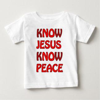 イエス・キリストが平和をイエス・キリスト赤の平和知っていないことを知って下さい ベビーTシャツ