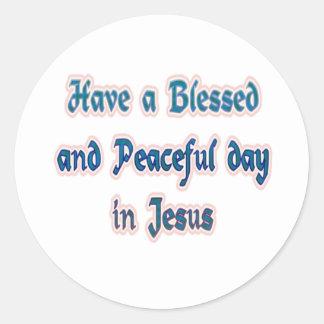 イエス・キリストで賛美され、平和な日を過して下さい ラウンドシール