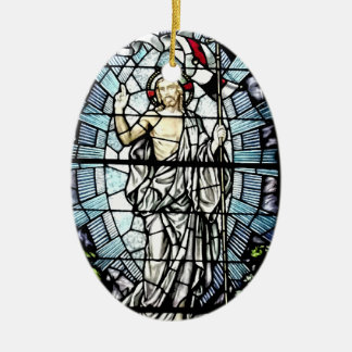 イエス・キリストのステンドグラス窓の復活 セラミックオーナメント
