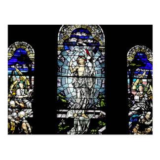 イエス・キリストのステンドグラス窓の復活 ポストカード