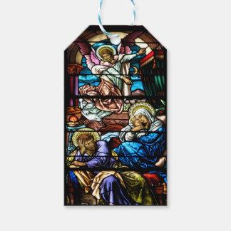 イエス・キリストのステンドグラス窓の誕生 ギフトタグ