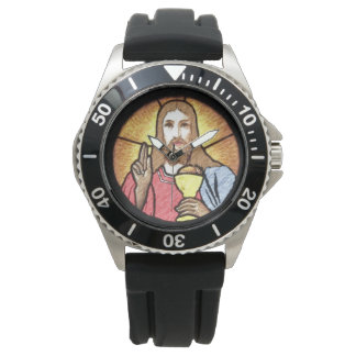 イエス・キリストのステンレス鋼の黒のゴム 腕時計