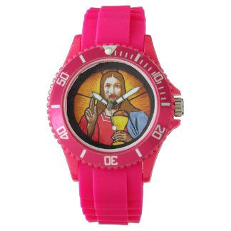 イエス・キリストのスポーティなピンクのケイ素 腕時計