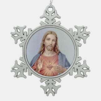 イエス・キリストのヴィンテージの神聖なハート スノーフレークピューターオーナメント