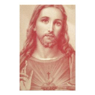 イエス・キリストのヴィンテージの神聖なハート 便箋
