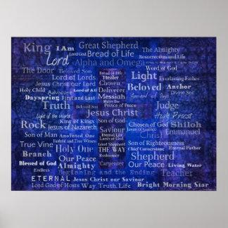 イエス・キリストの名前-コンテンポラリーなキリスト教の芸術 ポスター