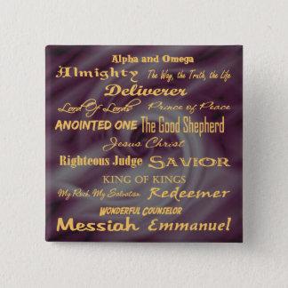 イエス・キリストの名前… 5.1CM 正方形バッジ