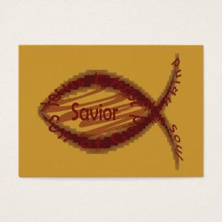 イエス・キリストの救助者のキリスト教の魚の記号地域カード/ 名刺