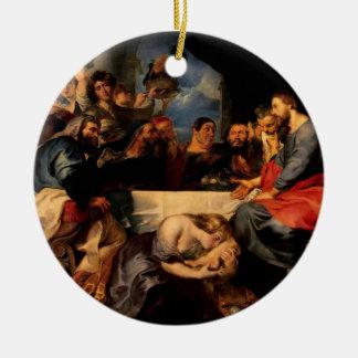イエス・キリストの料金に接吻しているサイモン及びマグダラのマリアの饗宴 セラミックオーナメント