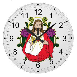 イエス・キリストの神聖なハート ラージ壁時計