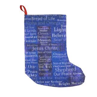 イエス・キリストの青い十字の芸術の名前そしてタイトル スモールクリスマスストッキング