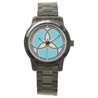 イエス・キリストの魚の三位一体のステンドグラスのロゴ 腕時計