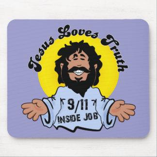 イエス・キリストはおもしろいな真実9-11の中仕事を愛します マウスパッド