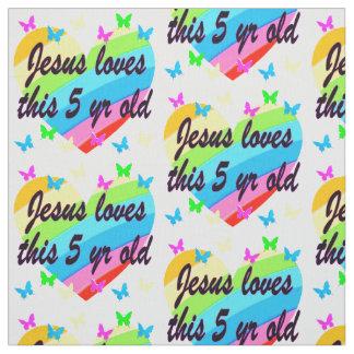 イエス・キリストはこれを5 YR OLDの第5誕生日の天恵愛します ファブリック