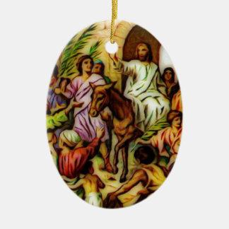 イエス・キリストはエルサレムにろばに乗ります セラミックオーナメント