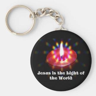 イエス・キリストは世界の赤の蝋燭のライトです キーホルダー