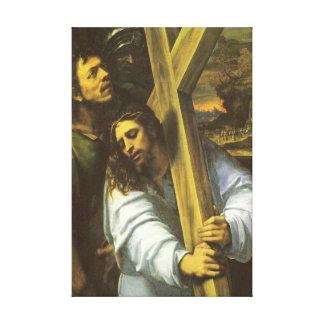 イエス・キリストは十字のキャンバスプリントを運びます キャンバスプリント