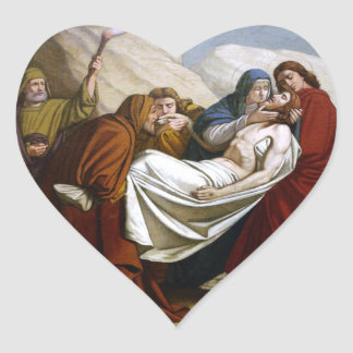イエス・キリストは墓十字架の道14で置かれます ハートシール