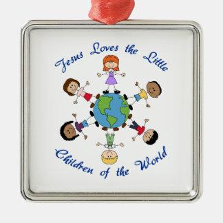 イエス・キリストは子供を愛します メタルオーナメント