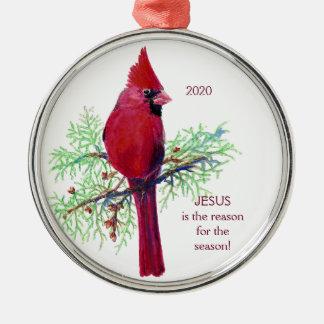 イエス・キリストは季節によって日付を記入される(鳥)ショウジョウコウカンチョウの理由です メタルオーナメント