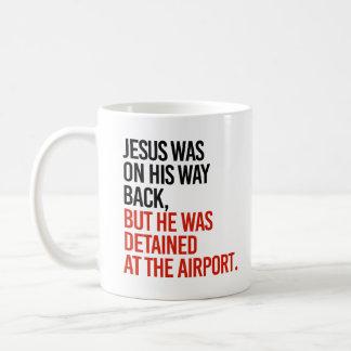 イエス・キリストは彼の方法背部にありましたが、で引き留められました コーヒーマグカップ