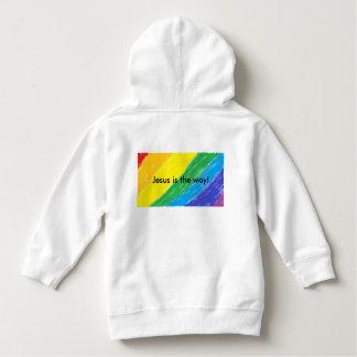 イエス・キリストは方法です! 虹の幼児のフード付きスウェットシャツ パーカ