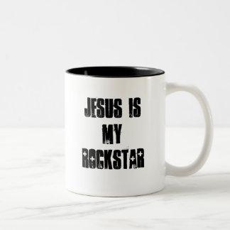 イエス・キリストは私のロックスターです ツートーンマグカップ