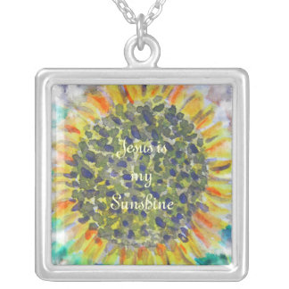 イエス・キリストは私の日光のヒマワリです シルバープレートネックレス