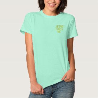 イエス・キリストは私を愛しますイエス・キリストは- Tシャツ愛します レディース刺繍入りポロシャツ
