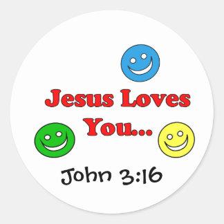 イエス・キリストは-ジョンの3:16のステッカー愛します ラウンドシール