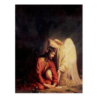 イエス・キリストを慰めるヴィンテージの天使 ポストカード