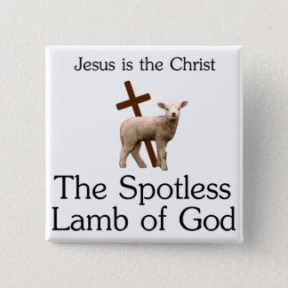 イエス・キリストキリストの神のきれいな子ヒツジ 5.1CM 正方形バッジ