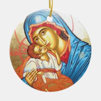 イエス・キリストビザンチンの宗教アイコン金ゴールドのマドンナ セラミックオーナメント